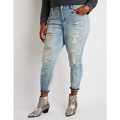 Plus Size Dollhouse Destroyed Skinny Jeans