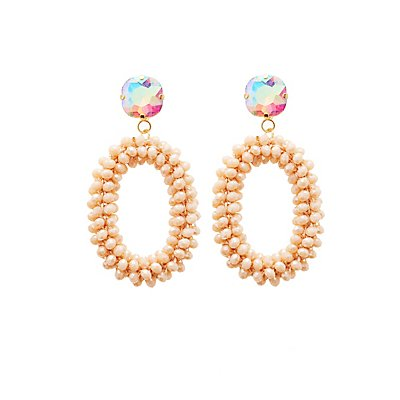 Beaded Crystal Oval Earrings