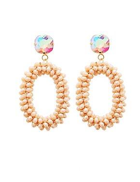 Beaded Crystal Oval Earrings