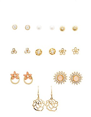 Crystal & Textured Earrings - 9 Pack