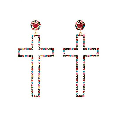 Crystal Cross Drop Earrings