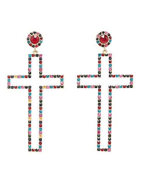 Crystal Cross Drop Earrings Charlotte Russe