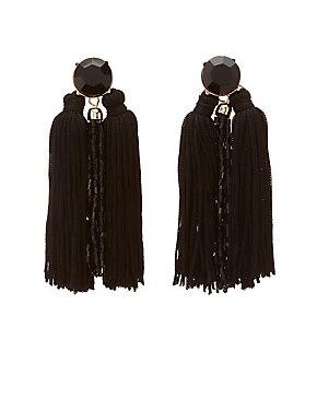 Bead & Fringe Drop Earrings