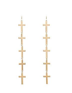 Metal Cross Drop Earrings