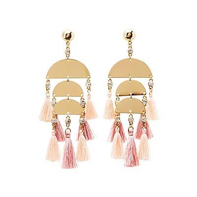 Metal & Tassel Drop Earrings
