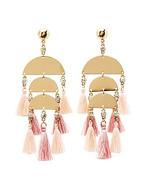 Metal & Tassel Drop Earrings