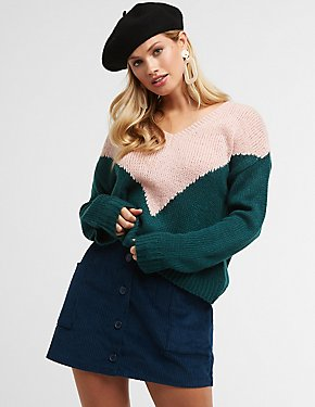 V Neck Colorblock Sweater
