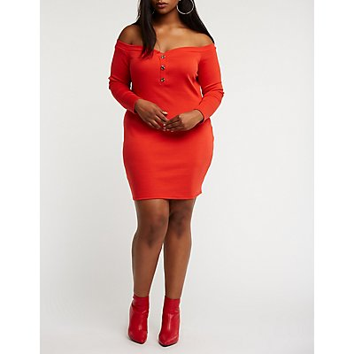 Plus Size Off The Shoulder Button Up Dress