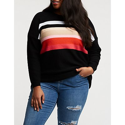 Plus Size Colorblock Sweater
