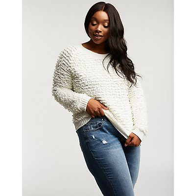 Plus Size Popcorn Pullover Sweater