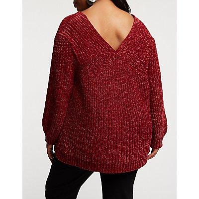 Plus Size Chenille V Neck Pullover Sweater