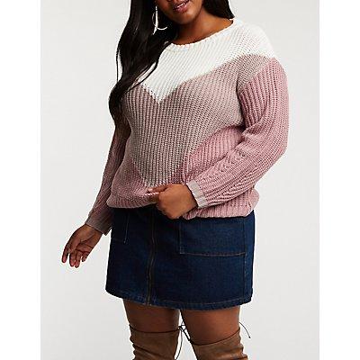 Plus Size Chevron Pullover Sweater