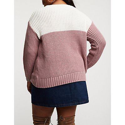 Plus Size Chevron Pullover Sweater
