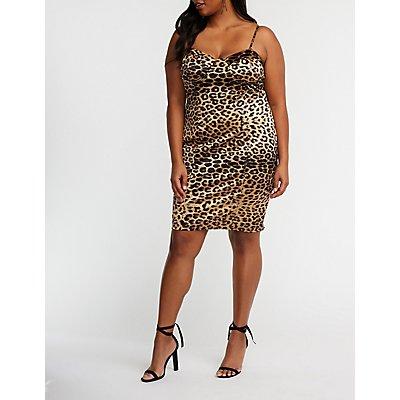 Plus Size Satin Leopard Bodycon Dress
