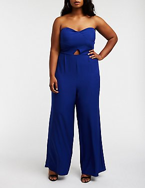 Plus Size Strapless Cut Out Jumpsuit
