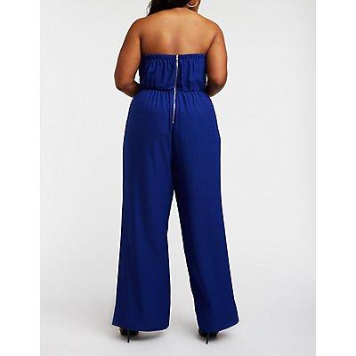 Plus Size Strapless Cut Out Jumpsuit