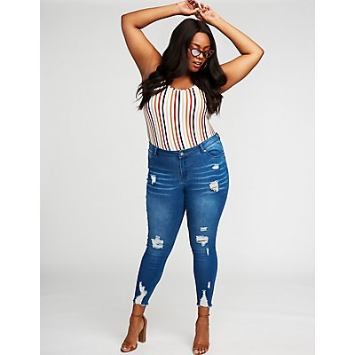 Plus Size Destroyed Push Up Skinny Jeans