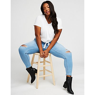 Plus Size Destroyed Crop Skinny Jeans