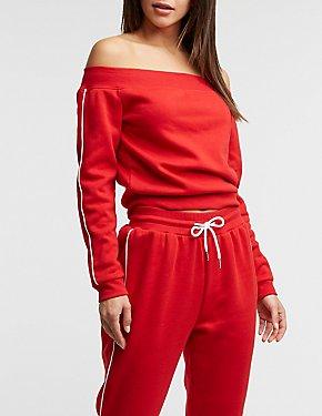 Stripe Sleeve Off The Shoulder Sweater