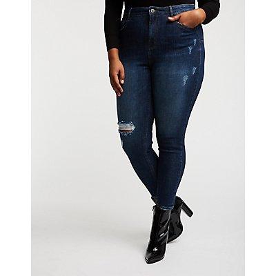Plus Size Hi Rise Push Up Skinny Jeans