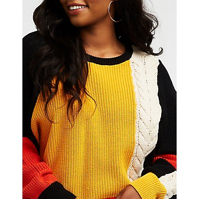 Plus Size Colorblock Cable Knit Pullover Sweater