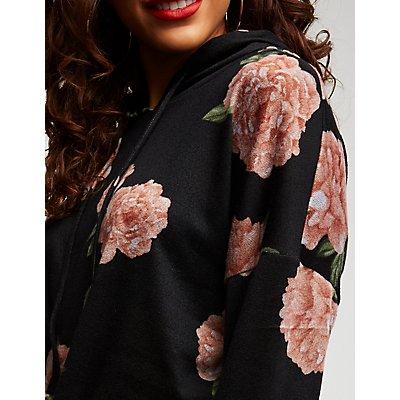 Floral Front Tie Hoodie