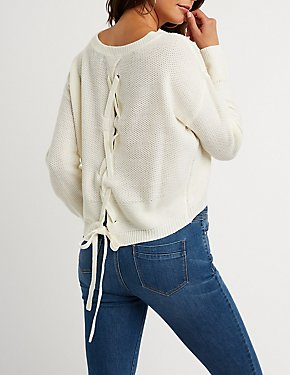 Lace Up Back Pullover Sweater