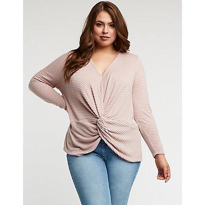 Plus Size Front Twist Knit Top