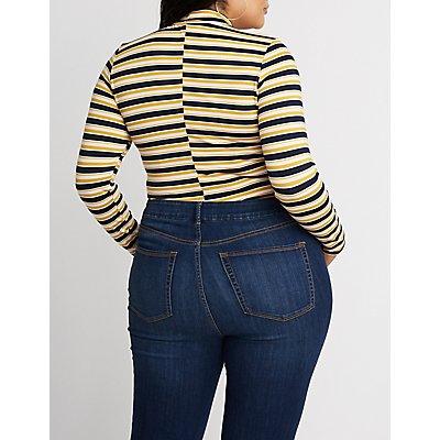 Plus Size Striped Bodysuit