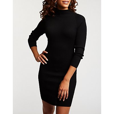 Mock Neck Ribbed Sweater Dress