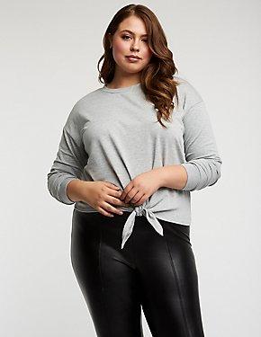 Plus Size Tie Front Knit Sweatshirt