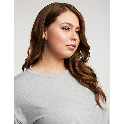 Plus Size Tie Front Knit Sweatshirt