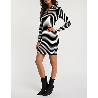 Striped Zip Up Bodycon