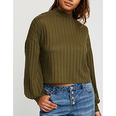 Mock Neck Ribbed Top