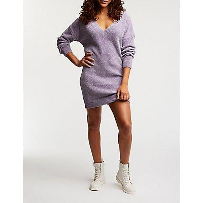 Chenille V-Neck Sweater Dress
