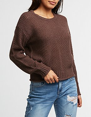 Rolled Hem Pullover Sweater