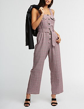 Plaid Button Up Jumpsuit