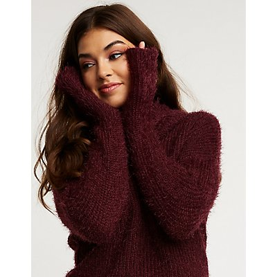 Fuzzy Cowl Neck Sweater