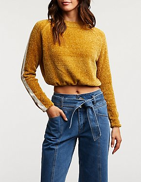 Striped Sleeve Cropped Sweater