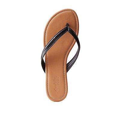 Faux Leather Flip Flops