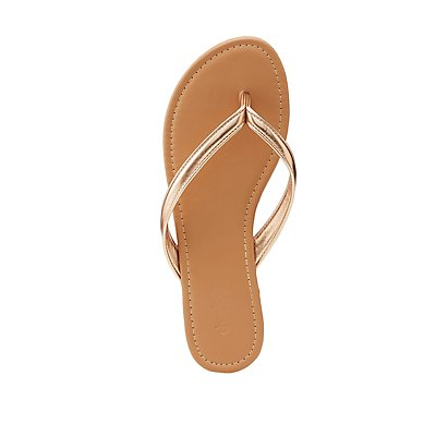 Faux Leather Flip Flops