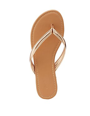 Faux Patent Leather Flip Flops