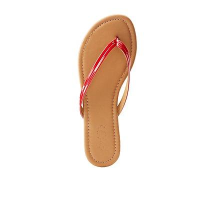 Faux Patent Leather Flip Flops