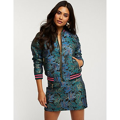 Floral Metallic Bomber Jacket