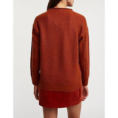 Suéter sin cierre de tejido trenzado