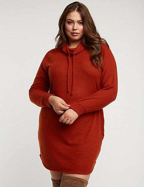 Plus Size Cowl Neck Sweater Dress Charlotte Russe