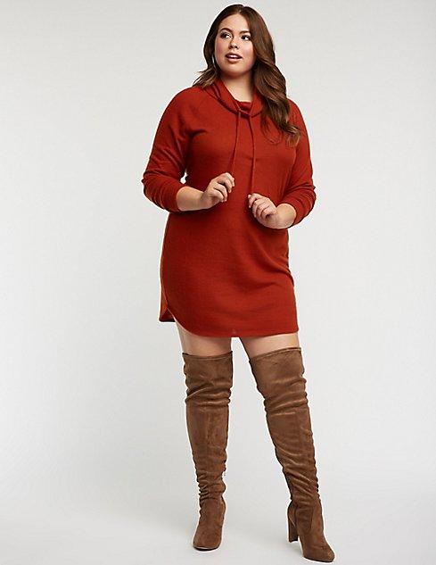Plus Size Cowl Neck Sweater Dress Charlotte Russe