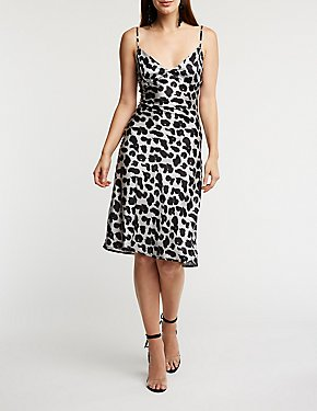 Leopard Satin Midi Dress