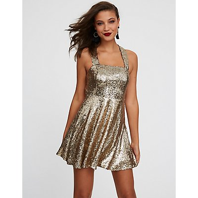Open Back Sequin Skater Dress