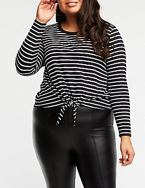 Plus Size Striped Crew Neck Tee